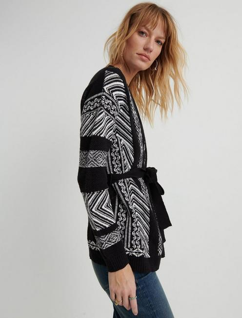 EMBROIDERED CARDIGAN, BLACK MULTI