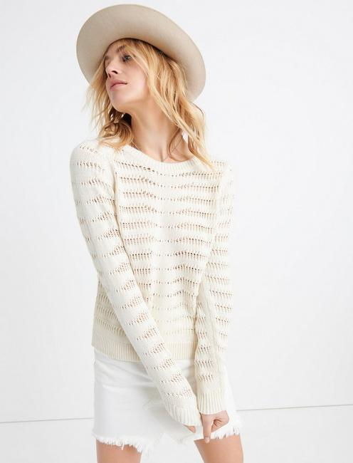 OPEN STITCH PULLOVER, BIRCH