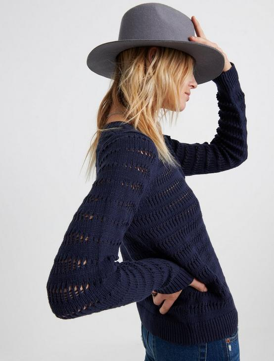 OPEN STITCH PULLOVER, AMERICAN NAVY, productTileDesktop