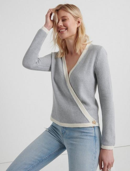 CROSS OVER CARDIGAN, HEATHER GREY