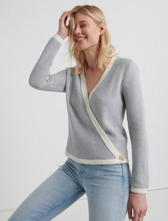 CROSS OVER CARDIGAN, HEATHER GREY, productTileDesktop