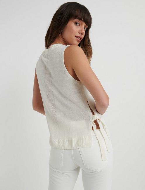 SIDE TIE SWEATER, WHISPER WHITE