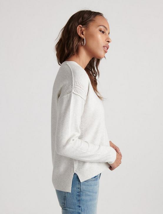 SOLID VNECK PULLOVER, LT HEATHER GREY, productTileDesktop