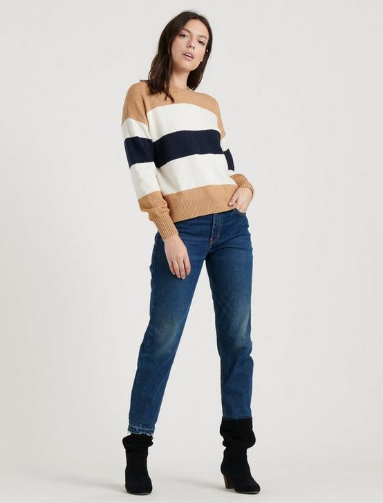BOLD STRIPE PULLOVER, CAMEL AND NAVY, productTileDesktop