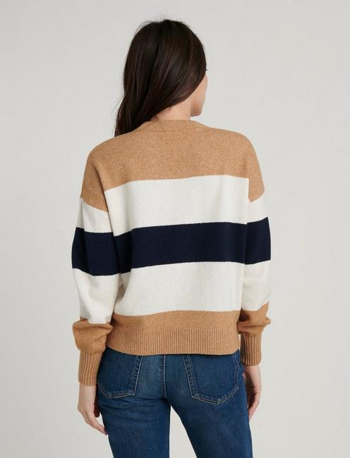 BOLD STRIPE PULLOVER, CAMEL AND NAVY