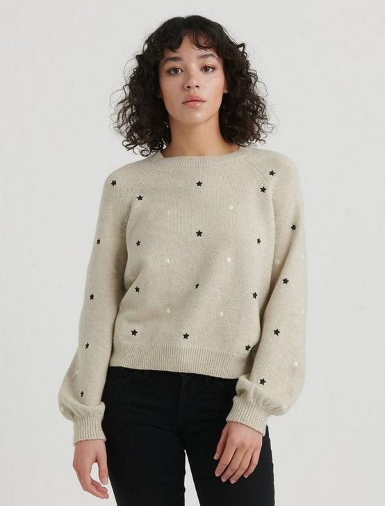 EMBROIDERED STARS PULLOVER, CREAM MULTI, productTileDesktop