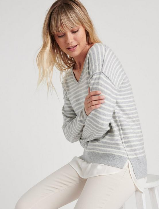 STRIPED WOVEN SWEATER MIX, GREY STRIPE, productTileDesktop