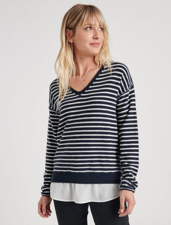 STRIPED WOVEN SWEATER MIX, NAVY STRIPE, productTileDesktop