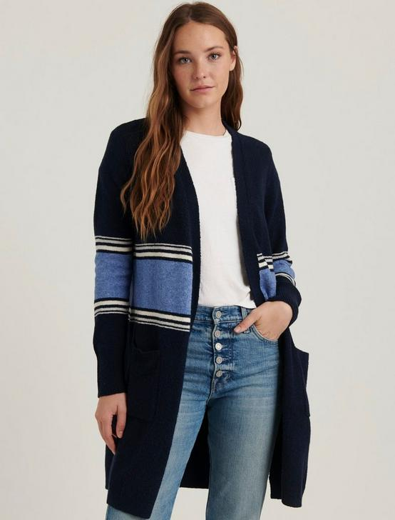 STRIPE LONG CARDIGAN, NAVY MULTI, productTileDesktop