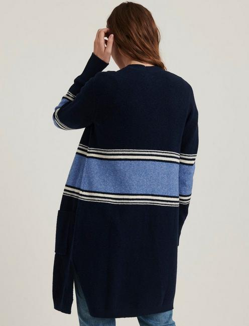 STRIPE LONG CARDIGAN, NAVY MULTI