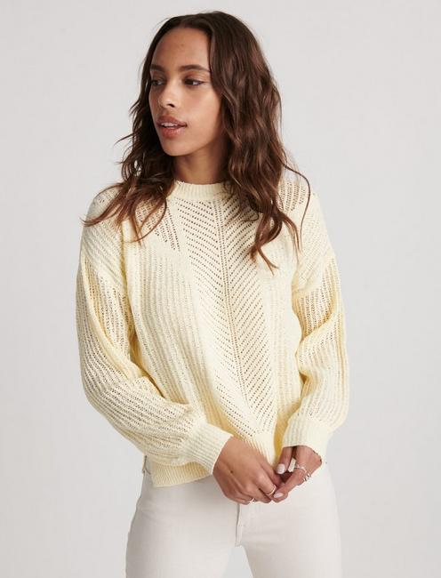 OPEN STITCH PULLOVER, LIGHT YELLOW