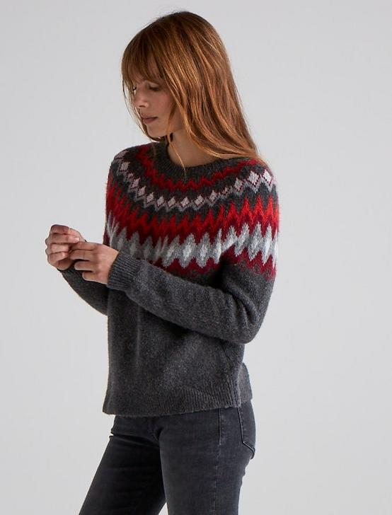FAIR ISLE PULLOVER, RED MULTI, productTileDesktop