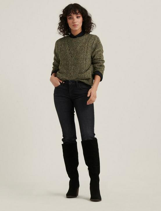 CABLE KNIT PULLOVER, HEATHER OLIVE, productTileDesktop
