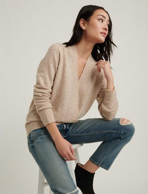 WRAP SWEATER, NATURAL