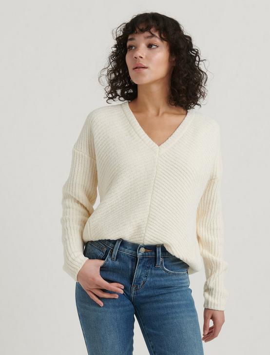 CHENILLE V-NECK PULLOVER, 104 CREAM, productTileDesktop
