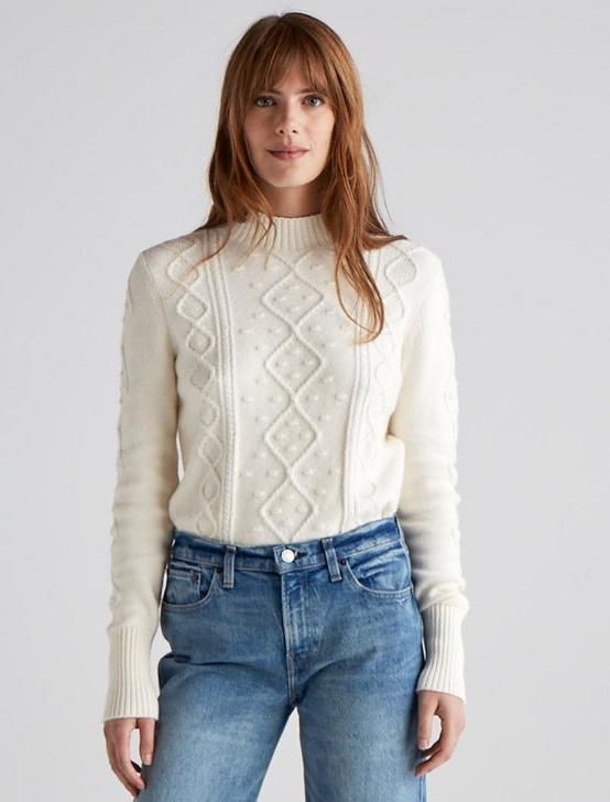 BAUBLE CABLE KNIT PULLOVER, ANTIQUE WHITE, productTileDesktop