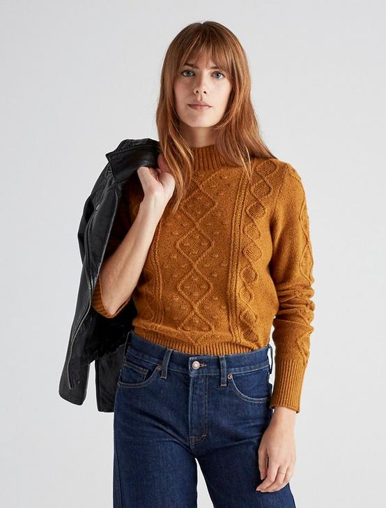 BAUBLE CABLE KNIT PULLOVER, CATHAY SPICE, productTileDesktop