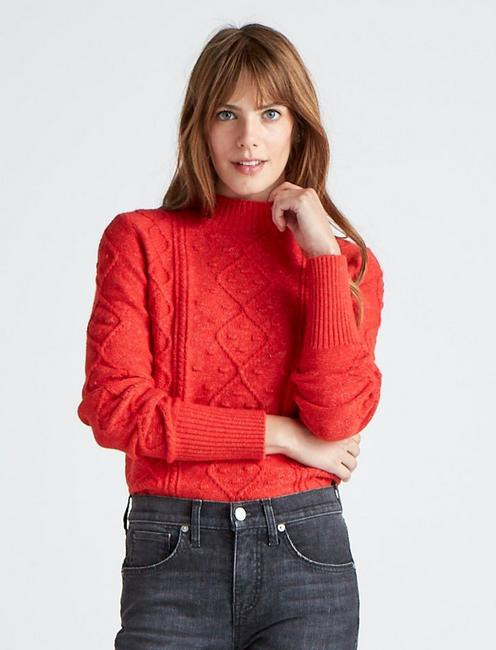 BAUBLE CABLE KNIT PULLOVER, AURA ORANGE