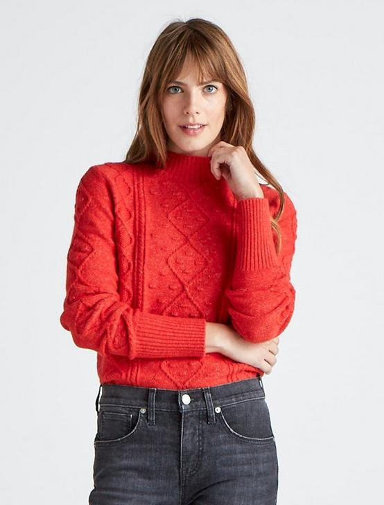 BOBBLE CABLE KNIT PULLOVER SWEATER, AURA ORANGE, productTileDesktop