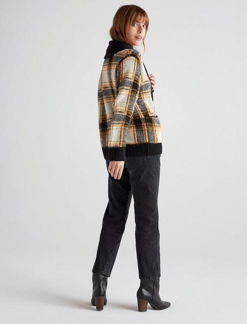 PLAID SHAWL CARDIGAN, MUSTARD MULTI