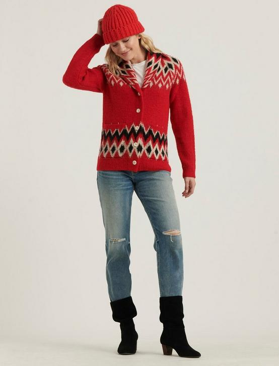 FAIRE ISLE SHAWL CARDIGAN, RED MULTI, productTileDesktop