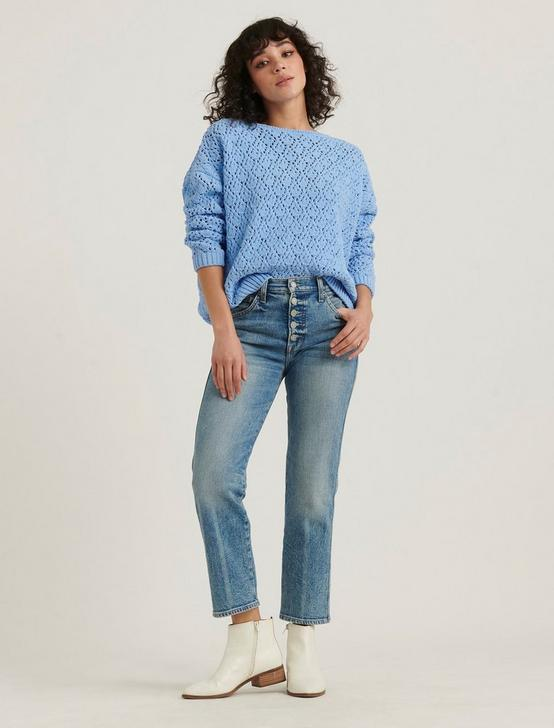 POINTELLE CHENILLE PULLOVER SWEATER, BLUE, productTileDesktop