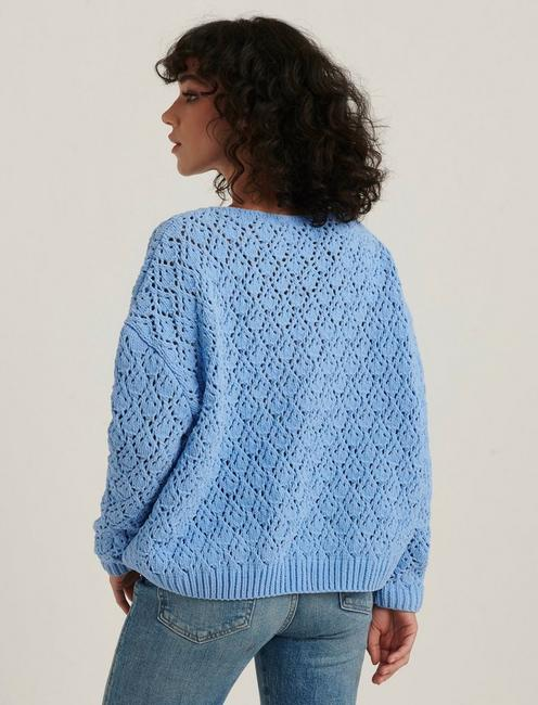 POINTELLE CHENILLE PULLOVER, BLUE
