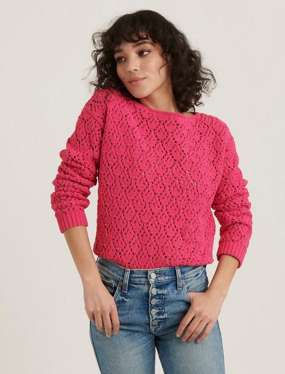 POINTELLE CHENILLE PULLOVER SWEATER, MAGENTA PINK, productTileDesktop