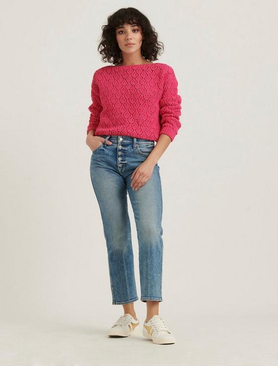 POINTELLE CHENILLE PULLOVER, MAGENTA PINK, productTileDesktop