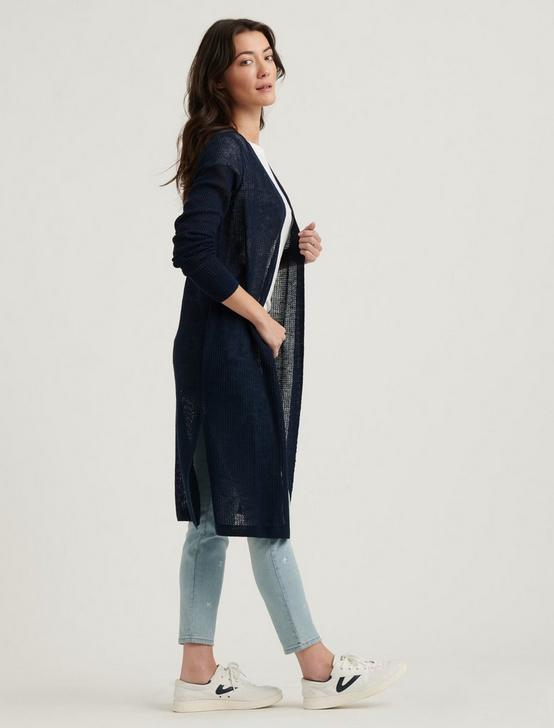 FINE GAUGE DUSTER CARDIGAN, AMERICAN NAVY, productTileDesktop