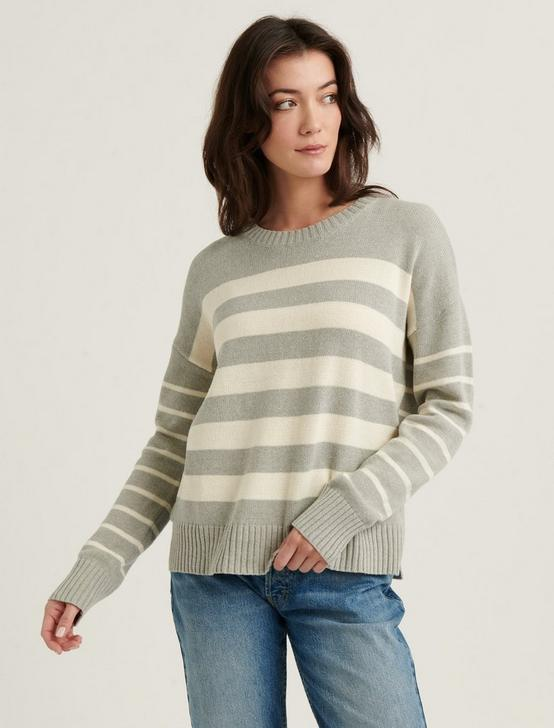 MIX STRIPE PULLOVER SWEATER, GREY STRIPE, productTileDesktop