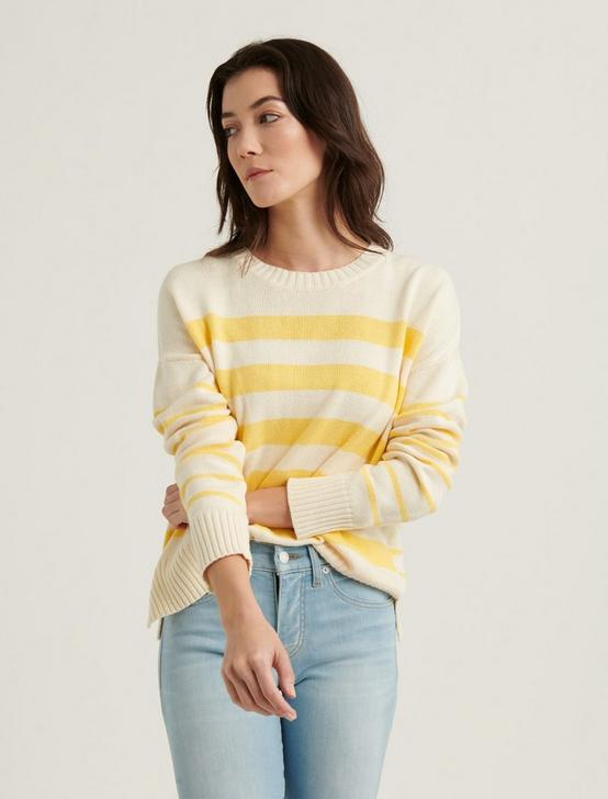 MIX STRIPE PULLOVER SWEATER, YELLOW STRIPE, productTileDesktop