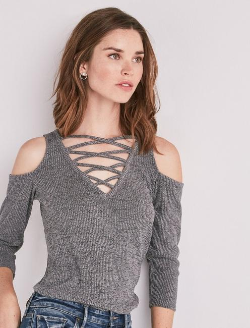 CRISSCROSS COLD SHOULDER TOP,