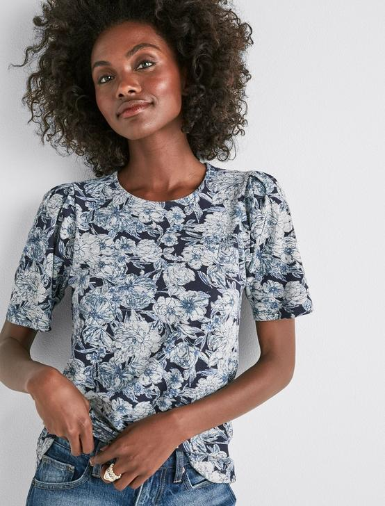 FLORAL PUFF SLEEVE TOP, MULTI, productTileDesktop