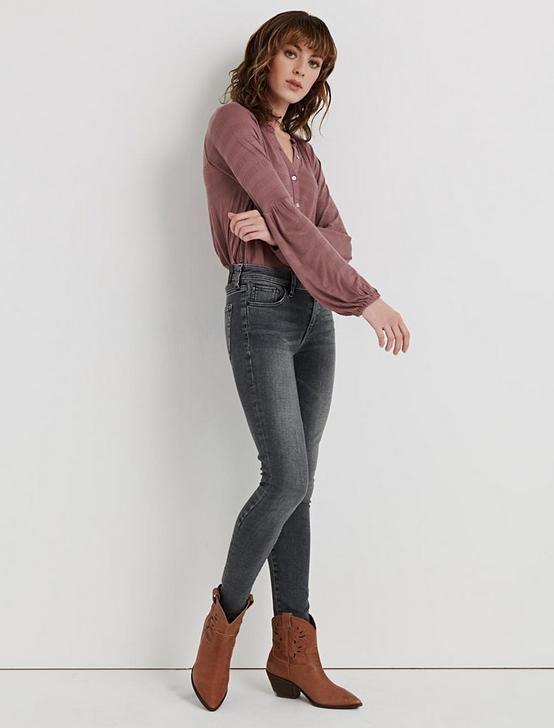 BELL SLEEVE RUFFLE HENLEY, ROSE TAUPE, productTileDesktop