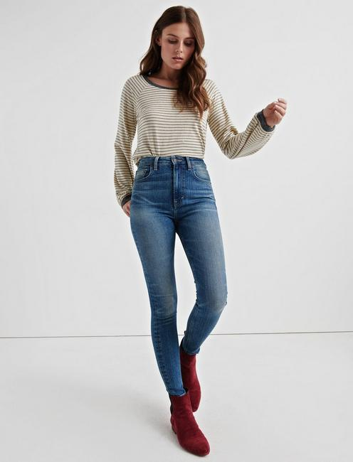 PUFF SLEEVE PULLOVER, WHITE STRIPE