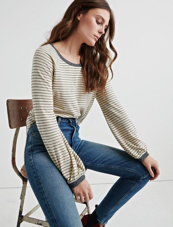 PUFF SLEEVE PULLOVER, WHITE STRIPE, productTileDesktop