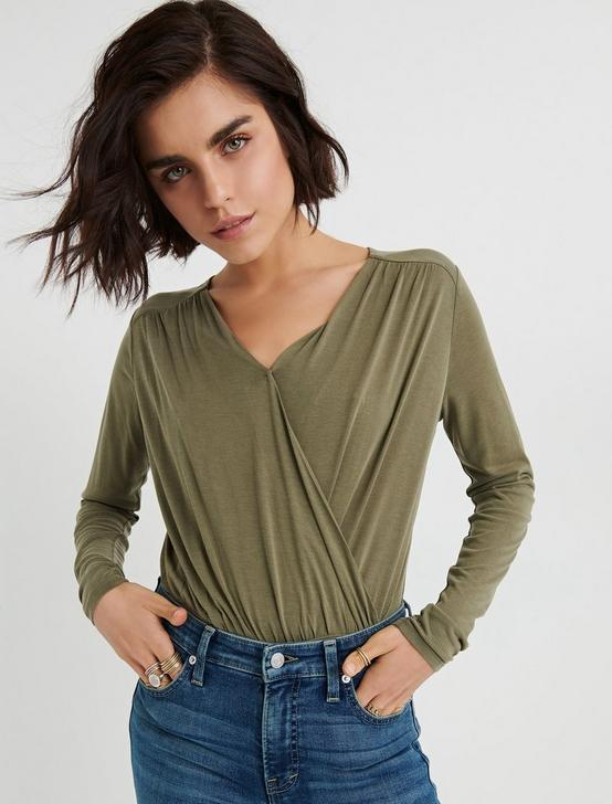 BELL SLEEVE WRAP TOP, OLIVE, productTileDesktop
