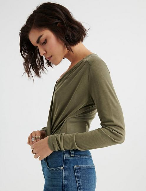 BELL SLEEVE WRAP TOP, OLIVE