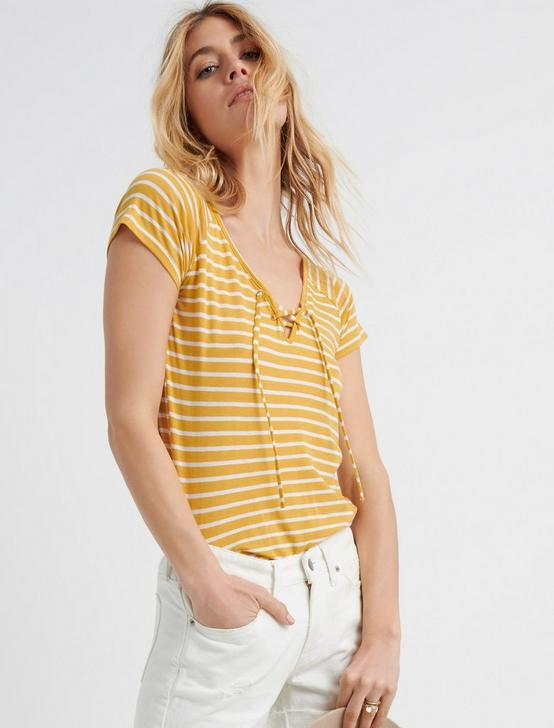 LACE UP FRONT TOP, YELLOW STRIPE, productTileDesktop