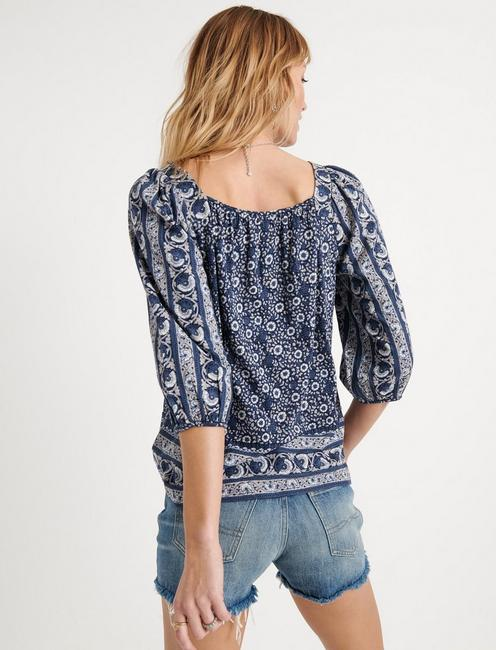 BORDER PRINT PEASANT TOP, BLUE MULTI