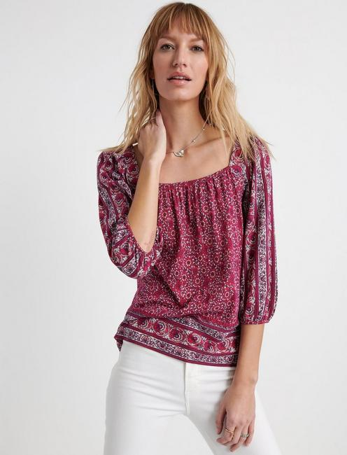 BORDER PRINT PEASANT TOP, BERRY MULTI