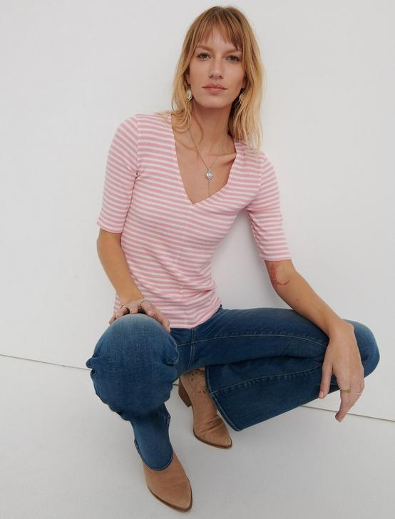 Striped Ribbed Tee, CORAL STRIPE, productTileDesktop