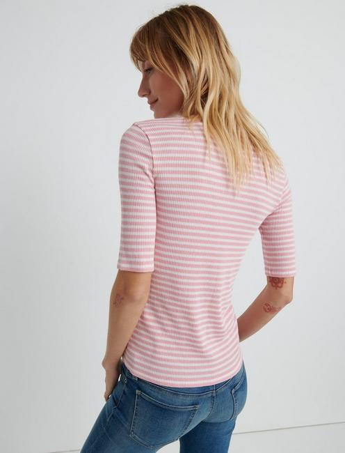 Striped Ribbed Tee, CORAL STRIPE