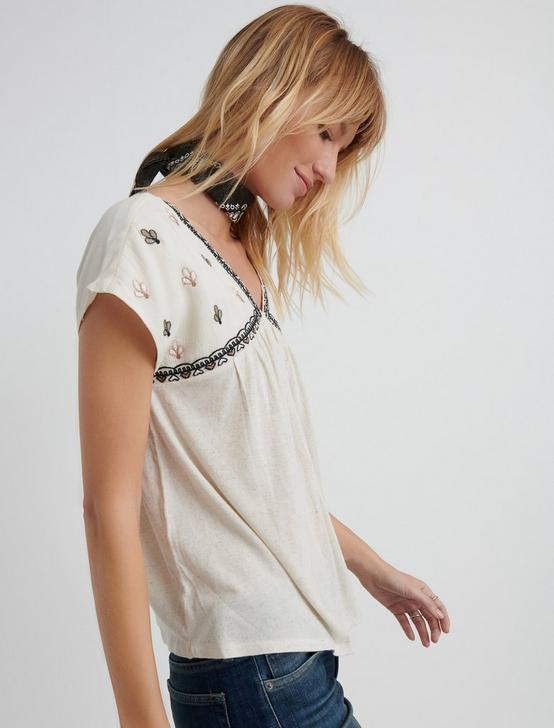 EMBROIDERED TOP, NATURAL MULTI, productTileDesktop
