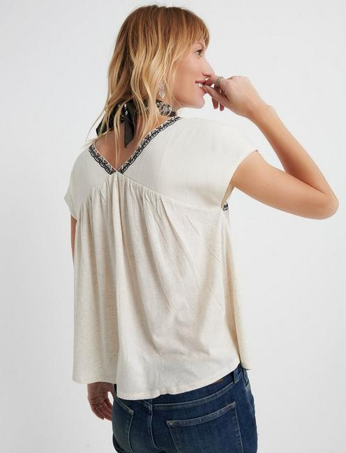 EMBROIDERED TOP, NATURAL MULTI