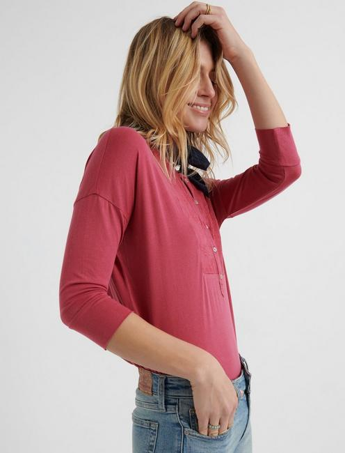 EMBROIDERED BIB HENLEY, RED ROSES