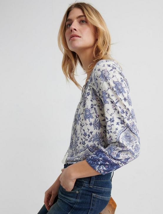 PRINTED TOP, NAVY MULTI, productTileDesktop