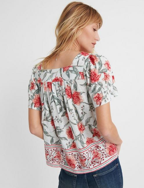 SQUARE NECK PRINTED TOP, MINT MULTI