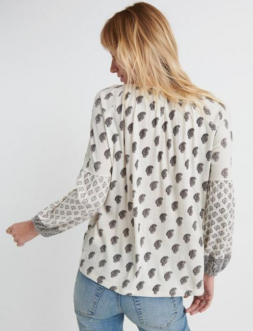 PRINTED PEASANT TOP, NATURAL MULTI